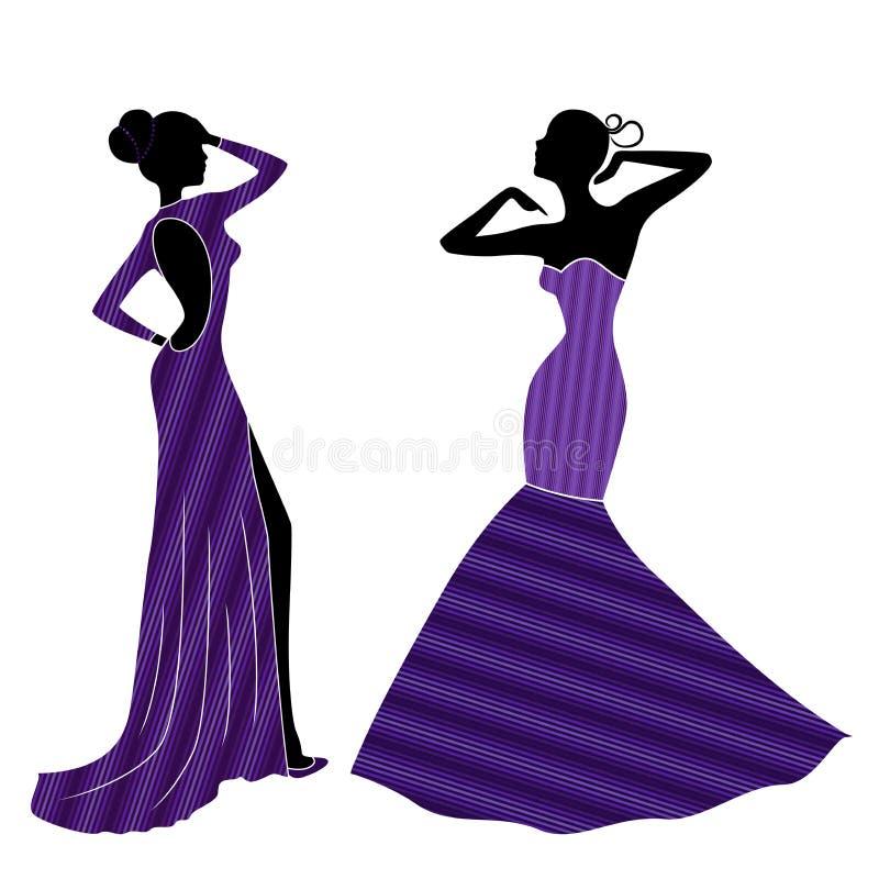 Ladyes Agraciado Atractivo En Vestidos Largos Ilustración del Vector ...