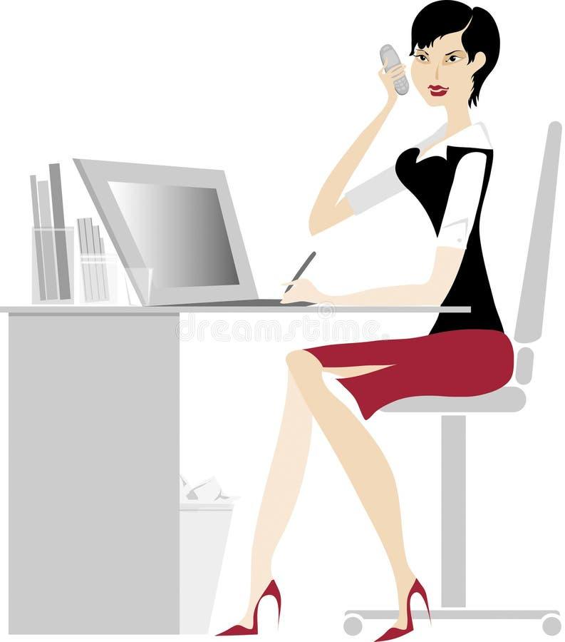 ladykontor stock illustrationer