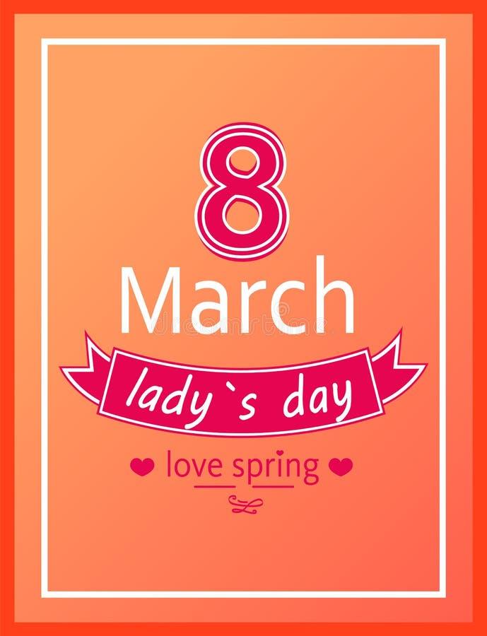Ladys giorno amore primavera stampa di calligrafia dell'8 marzo illustrazione di stock