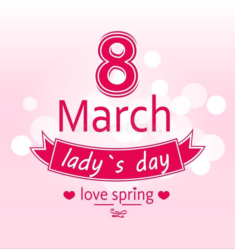 Ladys giorno amore primavera stampa di calligrafia dell'8 marzo royalty illustrazione gratis