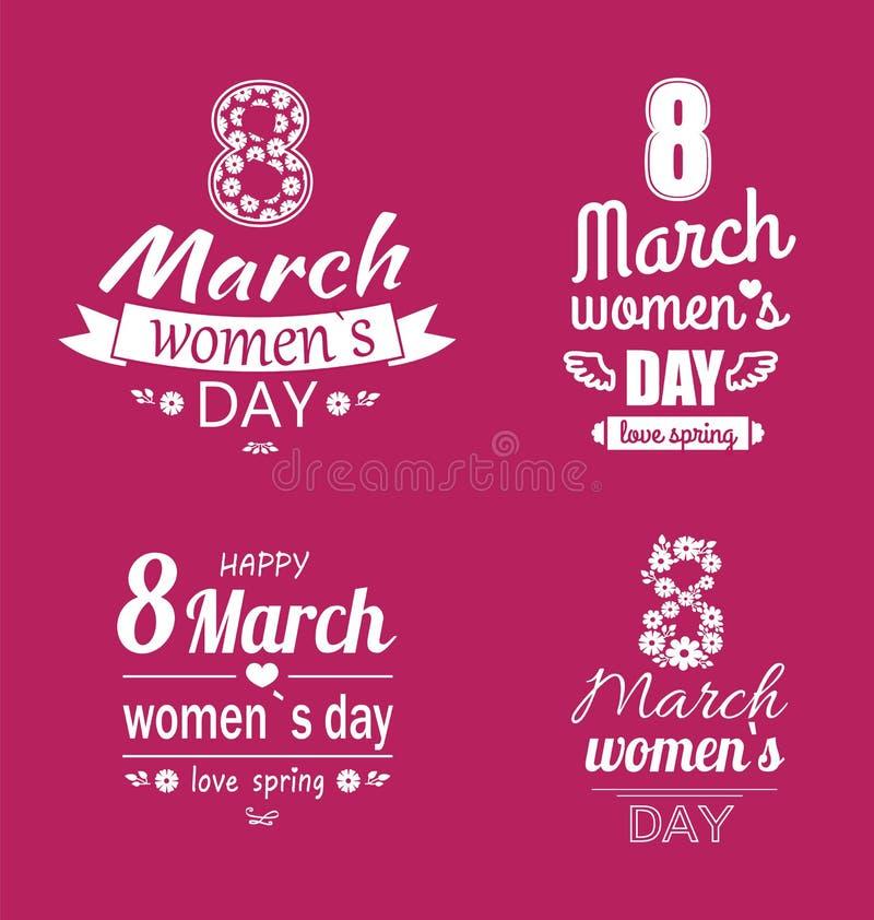 Ladys giorno amore primavera stampe di calligrafia dell'8 marzo royalty illustrazione gratis