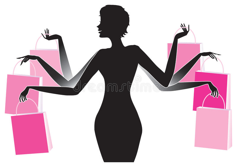 ladyshopping vektor illustrationer