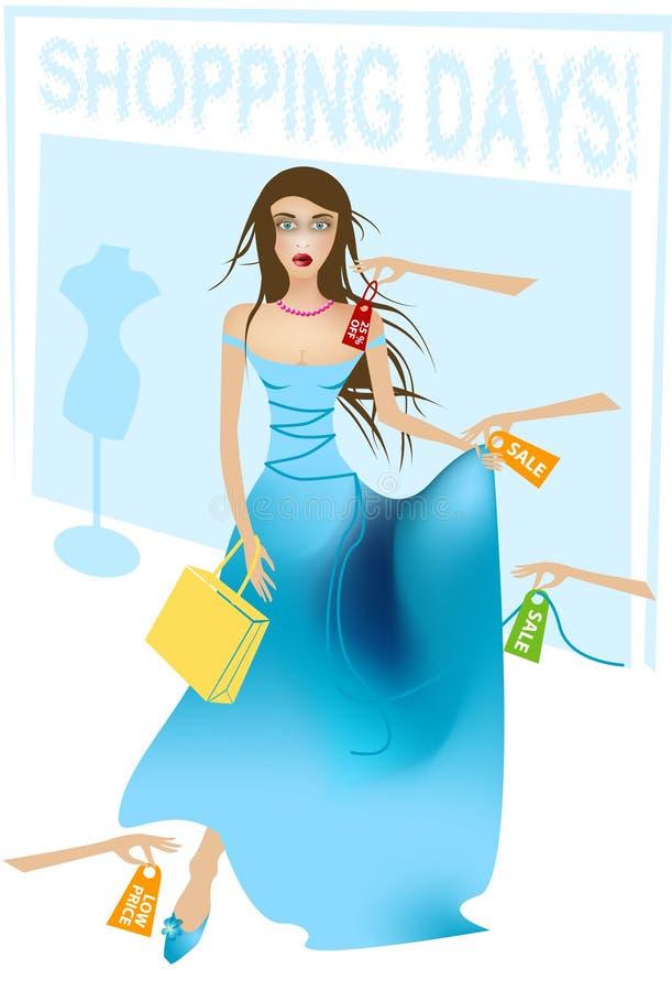 ladyshopping vektor illustrationer