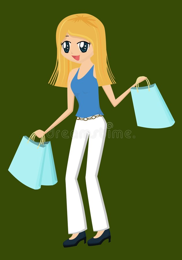 ladyshopping royaltyfri illustrationer