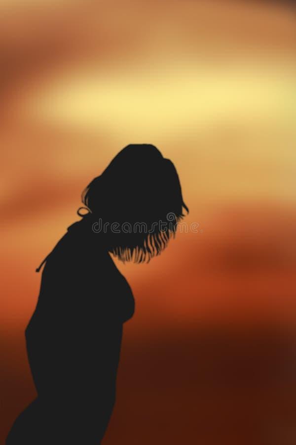 Download Ladysilhouette arkivfoto. Bild av kvinna, baddräkt, solnedgång - 42290
