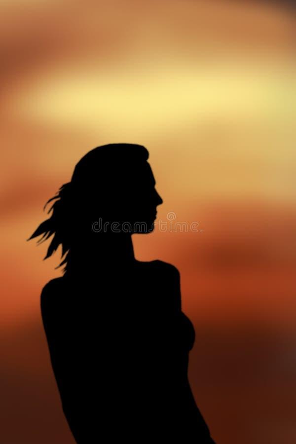 Ladysilhouette Arkivbilder