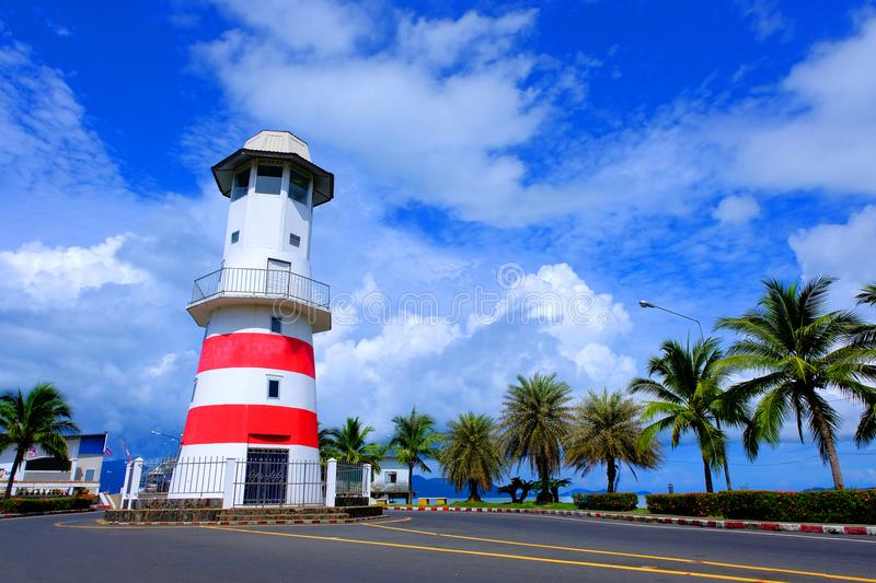 Laem Ngop lighthouse at Trat province in Thailand and blue sky stock image