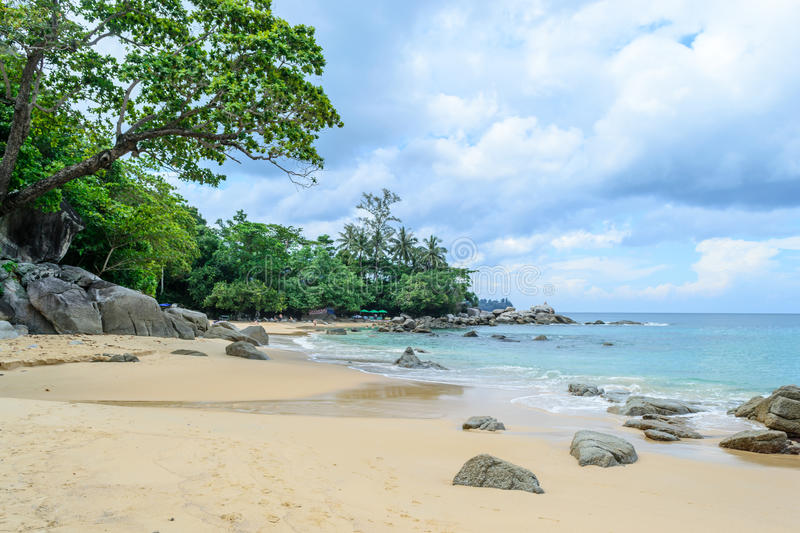 Laem Singh Beach is one of Phuket's most beautiful beaches. And hides on the west coast between Kamala and Surin beaches stock photo