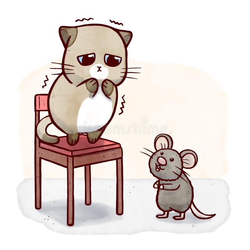 Lafaardkat op een stoel van muis wordt doen schrikken die stock illustratie