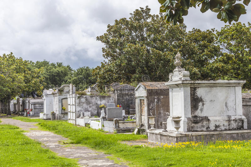 Lafayette cemetery in New Orleans with historic Grave Stones. Historic gravestones at the Lafayette Cemetery No. 1 in New Orleans, USA. It was established in stock image