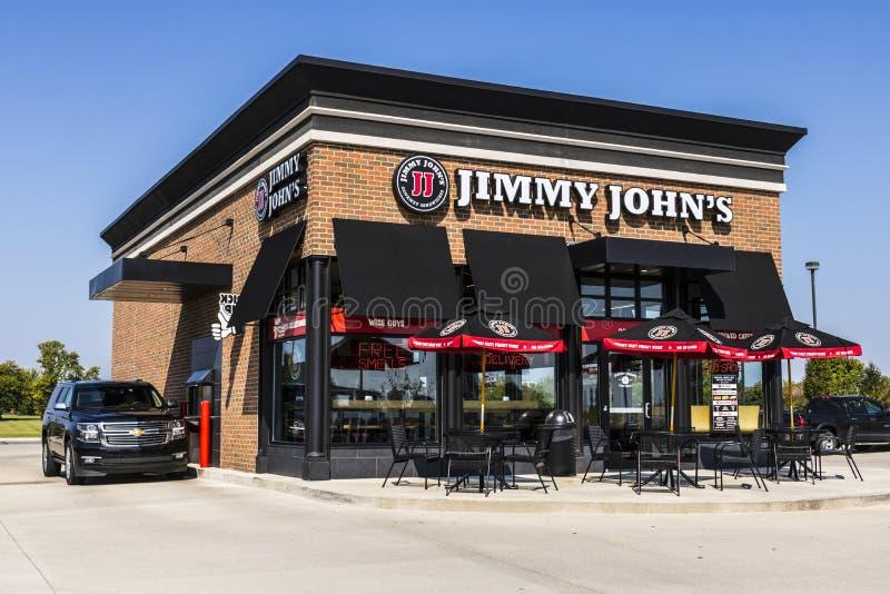 Lafayette - cerca do setembro de 2017: Restaurante gourmet do sanduíche do ` s de Jimmy John O ` s de Jimmy John é sabido para su imagem de stock royalty free