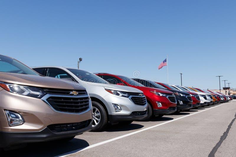 Lafayette - circa aprile 2018: Gestione commerciale dell'automobile di Chevrolet con la bandiera americana Chevy è una divisione  immagine stock