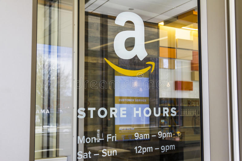 Lafayette - Circa February 2017: Amazon Store at Purdue. A brick-and-mortar store customers can receive products from Amazon IV royalty free stock photography