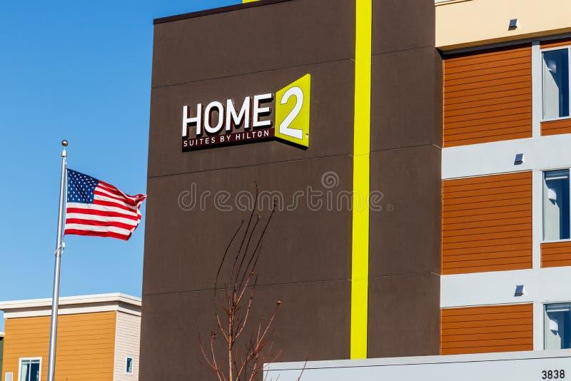 Lafayette - circa im Februar 2018: Reihen Home2 durch Hilton Reihen Home2 ist ein Gesamtreihenausgedehntaufenthaltshotel I stockbild