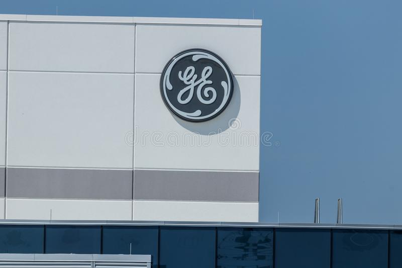 Lafayette - Circa Juli 2018: General Electric-Luchtvaartfaciliteit GE-de Luchtvaart is een Leverancier van GE90 en SPRONG Jet Eng royalty-vrije stock foto's