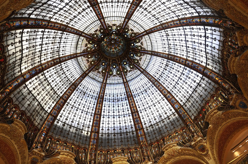 Lafayette Galeries Dome from Paris in France. Amazing dome of Lafayette magasin from Paris in France on July 15th 2015 royalty free stock photography