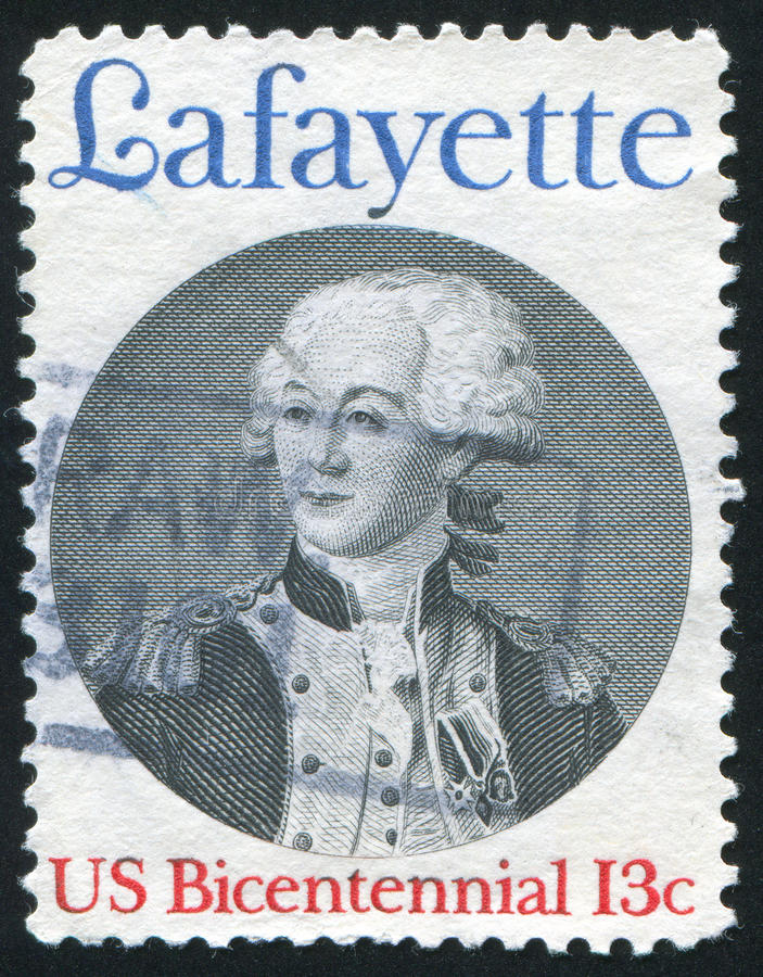 Lafayette. UNITED STATES - CIRCA 1977: stamp printed by United states, shows lafayette, circa 1977 royalty free stock photography