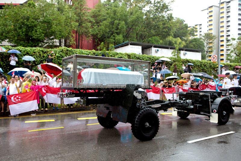 Lafette-Sarg Herr Lee Kuan Yew Singapore lizenzfreie stockbilder