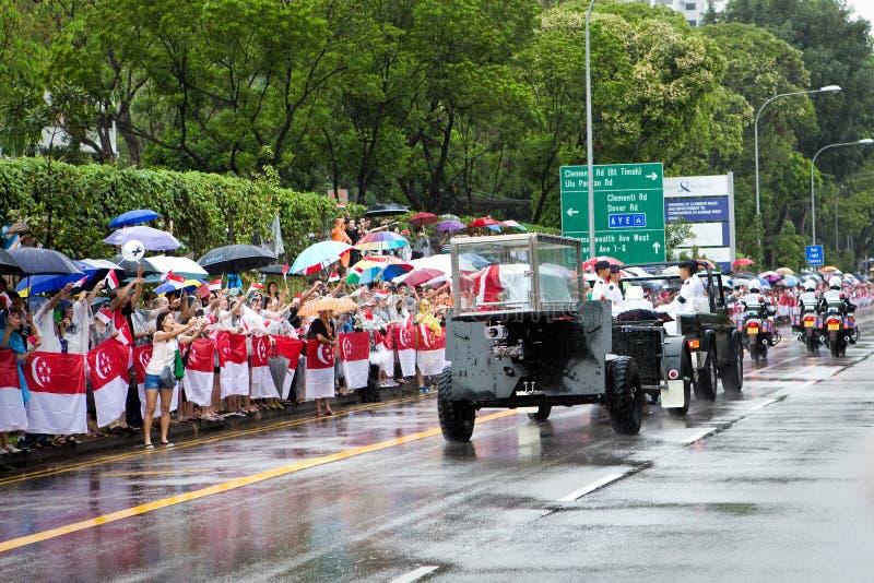 Lafette-Sarg Herr Lee Kuan Yew Singapore stockbilder