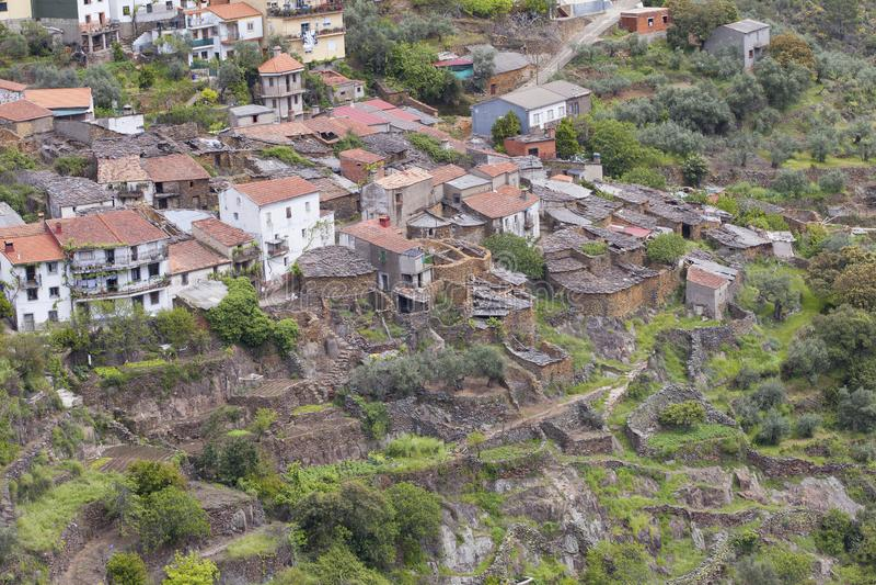 LaFragosa by i Las Hurdes, Extremadura region arkivfoton