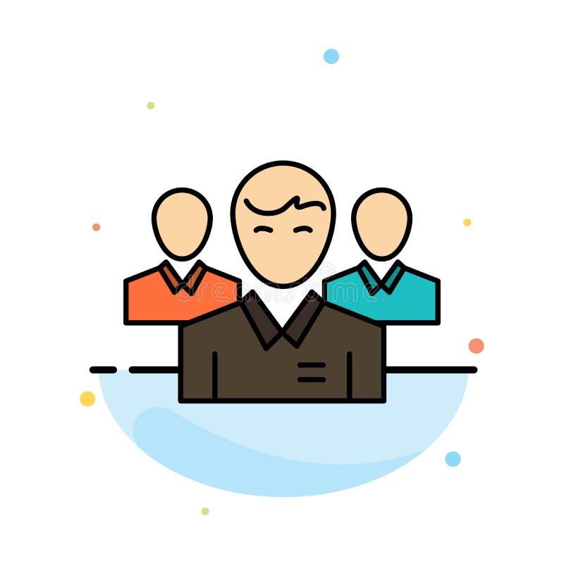 Lag affär, Ceo, ledare, ledare, ledarskap, för färgsymbol för person abstrakt plan mall vektor illustrationer
