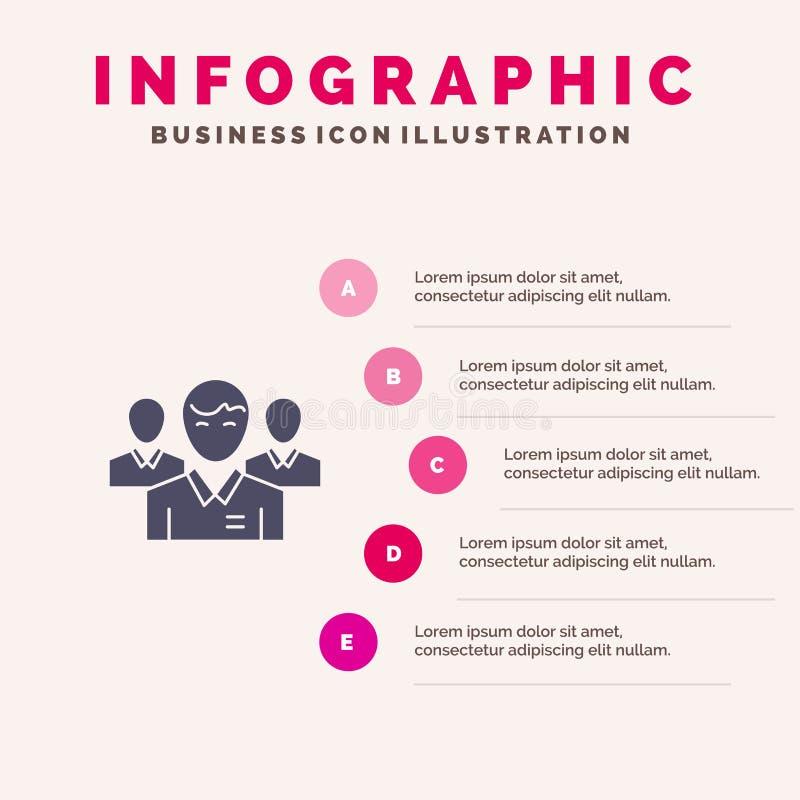 Lag affär, Ceo, ledare, ledare, ledarskap, för symbolsInfographics 5 för person fast bakgrund för presentation moment vektor illustrationer
