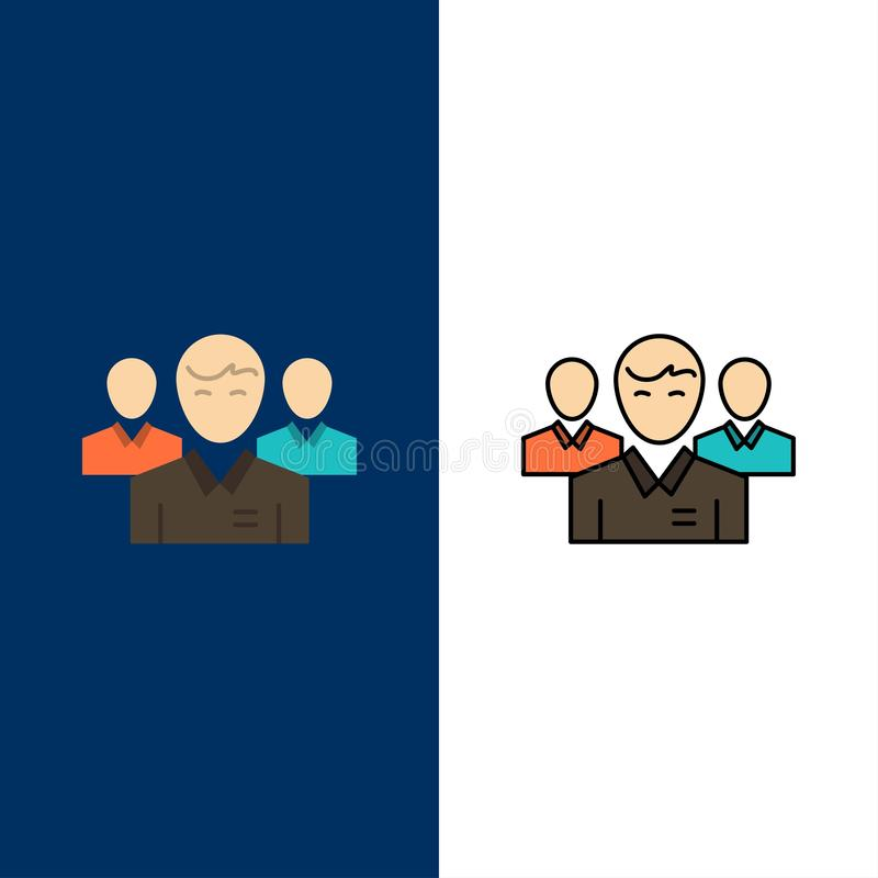 Lag affär, Ceo, ledare, ledare, ledarskap, personsymboler Lägenheten och linjen fylld symbol ställde in blå bakgrund för vektorn royaltyfri illustrationer