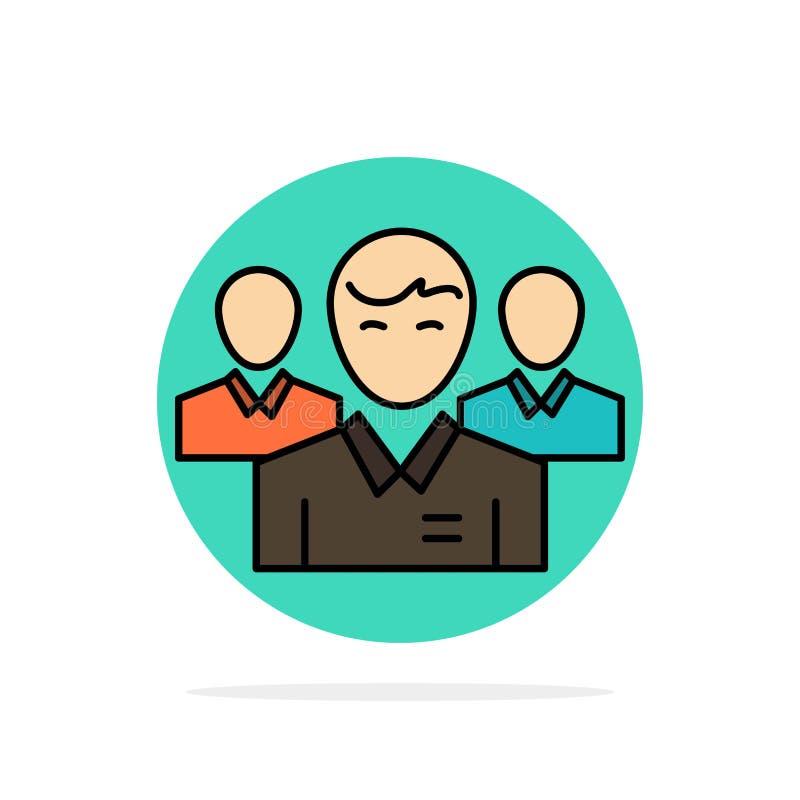 Lag affär, Ceo, ledare, ledare, ledarskap, symbol för färg för bakgrund för personabstrakt begreppcirkel plan stock illustrationer