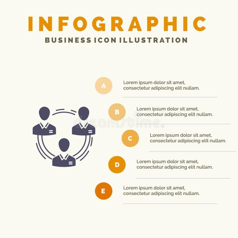 Lag affär, kommunikation, hierarki, folk som är socialt, för symbolsInfographics 5 för struktur fast bakgrund för presentation mo stock illustrationer