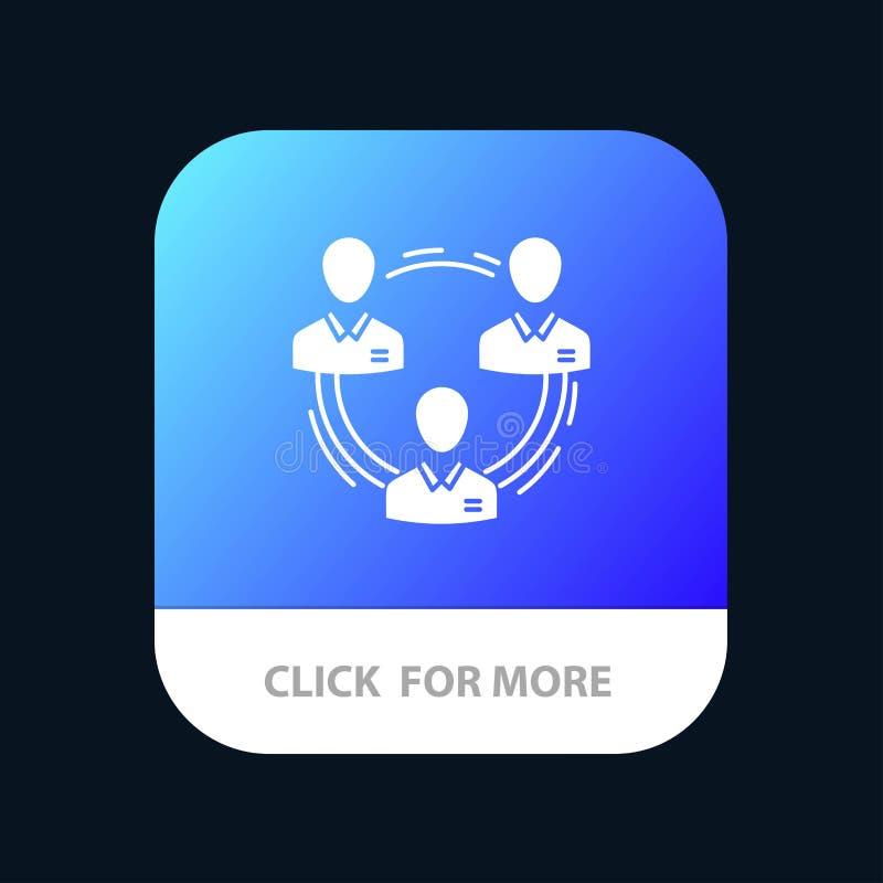 Lag affär, kommunikation, hierarki, folk som är socialt, mobil Appknapp för struktur Android och IOS-skåraversion vektor illustrationer