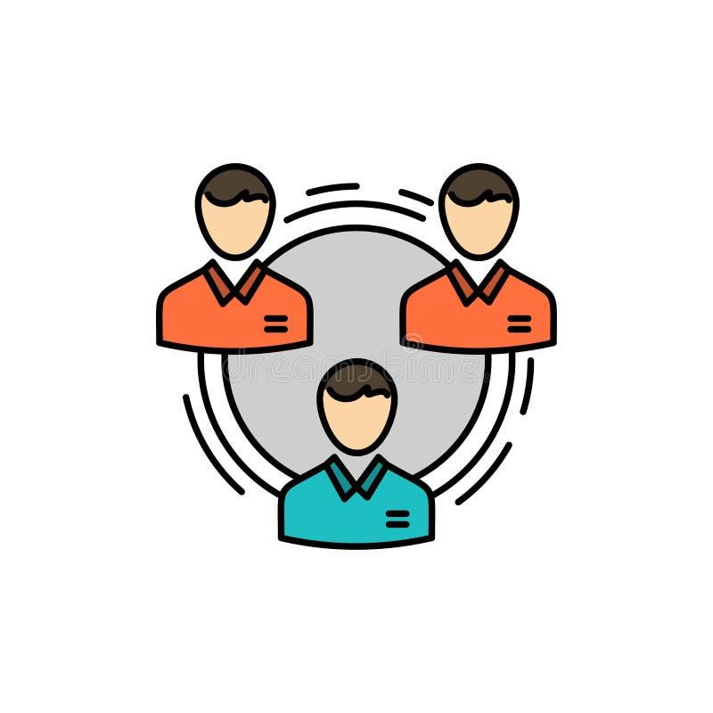 Lag affär, kommunikation, hierarki, folk som är socialt, plan färgsymbol för struktur Mall för vektorsymbolsbaner vektor illustrationer