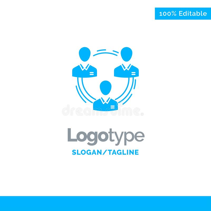 Lag affär, kommunikation, hierarki, folk som är socialt, struktur blåa fasta Logo Template St?lle f?r Tagline stock illustrationer