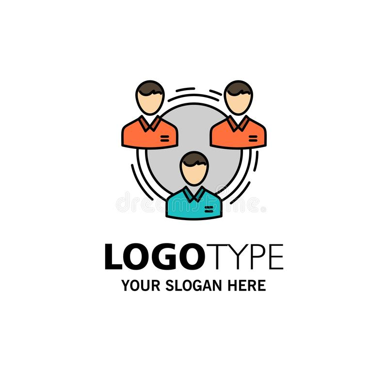Lag affär, kommunikation, hierarki, folk som är socialt, strukturaffär Logo Template plan f?rg royaltyfri illustrationer