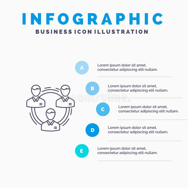 Lag affär, kommunikation, hierarki, folk som är socialt, strukturlinje symbol med för presentationsinfographics för 5 moment bakg stock illustrationer
