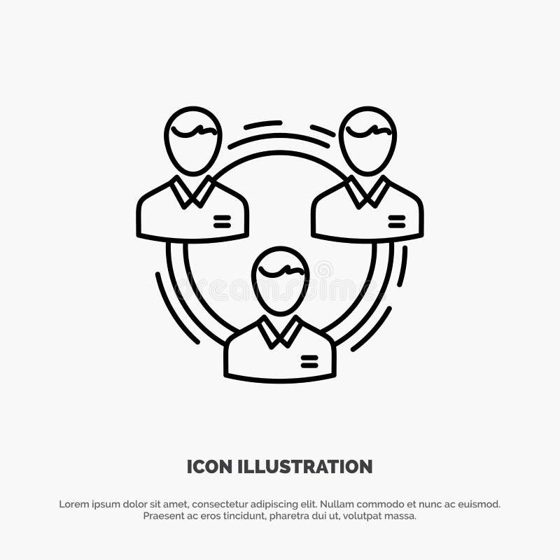 Lag affär, kommunikation, hierarki, folk som är socialt, strukturlinje symbolsvektor royaltyfri illustrationer