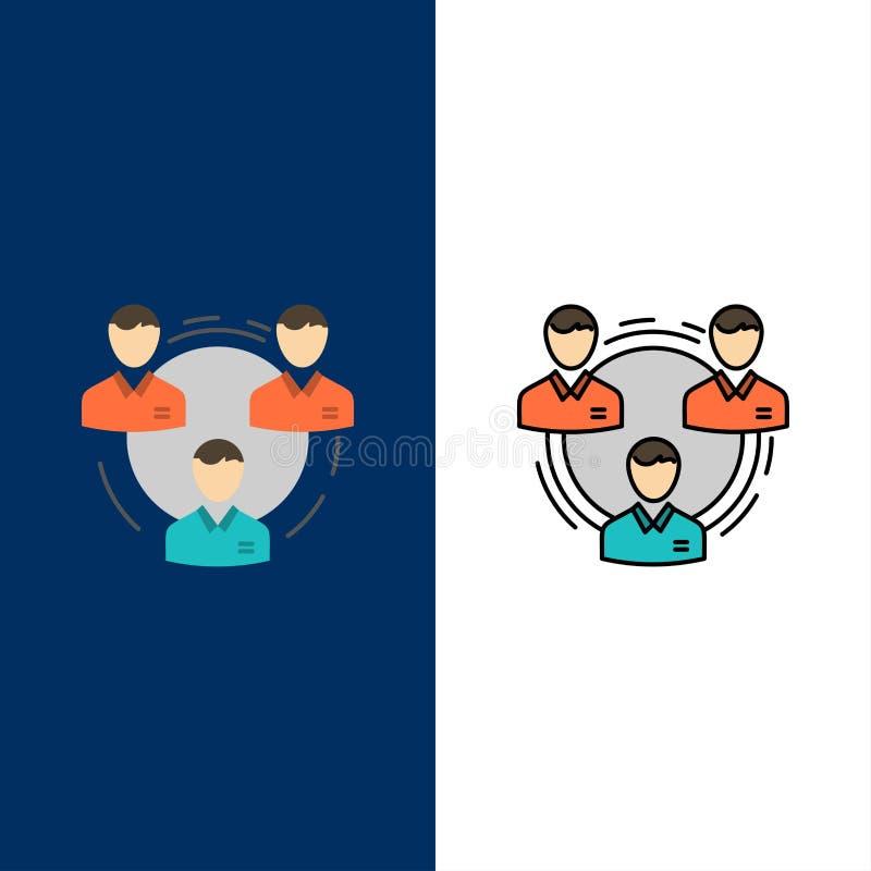 Lag affär, kommunikation, hierarki, folk som är socialt, struktursymboler Lägenheten och linjen fylld symbol ställde in blå bakgr vektor illustrationer