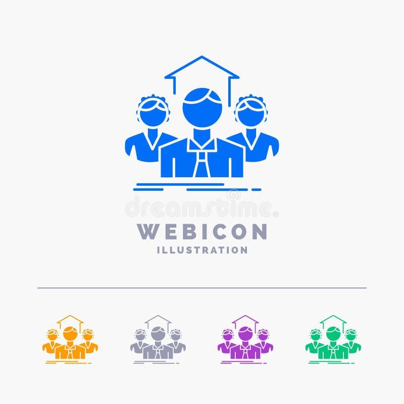 Lag affär, teamwork, grupp, för färgskåra för möte som 5 mall för symbol för rengöringsduk isoleras på vit ocks? vektor f?r corel royaltyfri illustrationer
