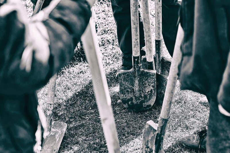 Lag av arbetare som är klara att starta plantera träd med deras skyfflar, teamworkbegrepp royaltyfri foto