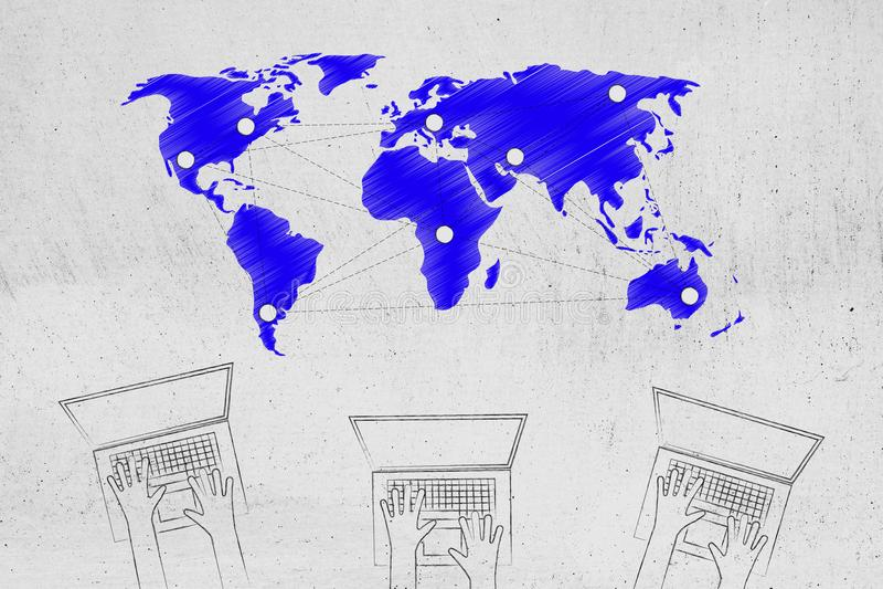 Lag av bärbar datoranvändare med det globala nätverket med hotspots ovanför stock illustrationer