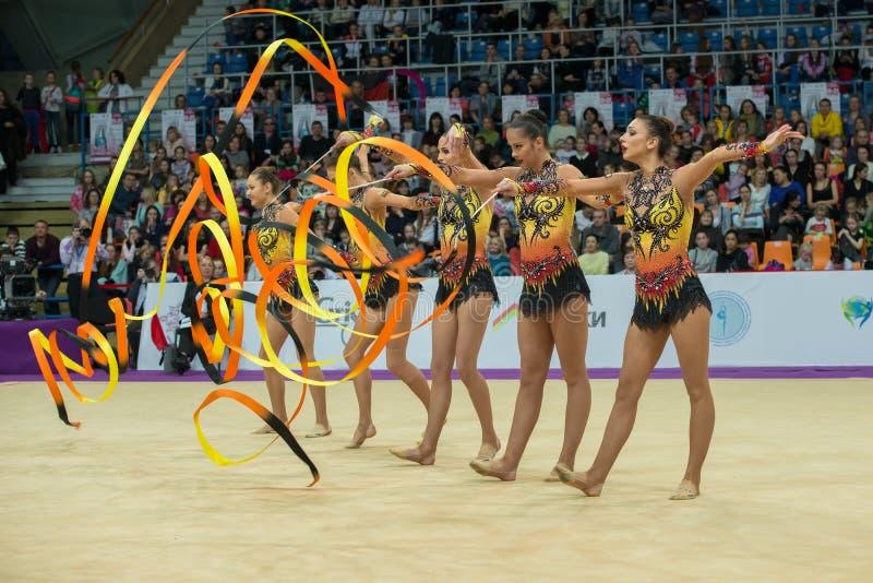 lag av Bulgarien på rytmisk gymnastik arkivbild