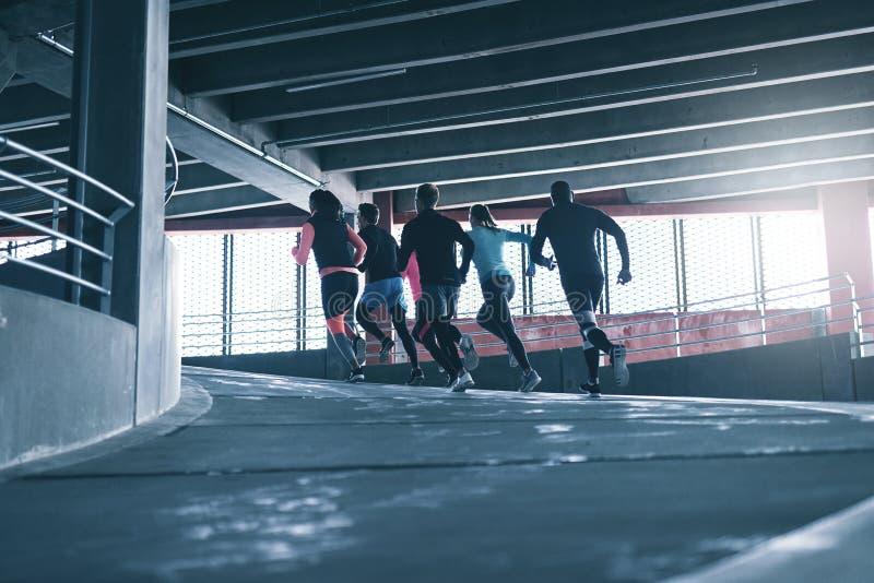 Lag av löpare som utarbetar royaltyfri foto