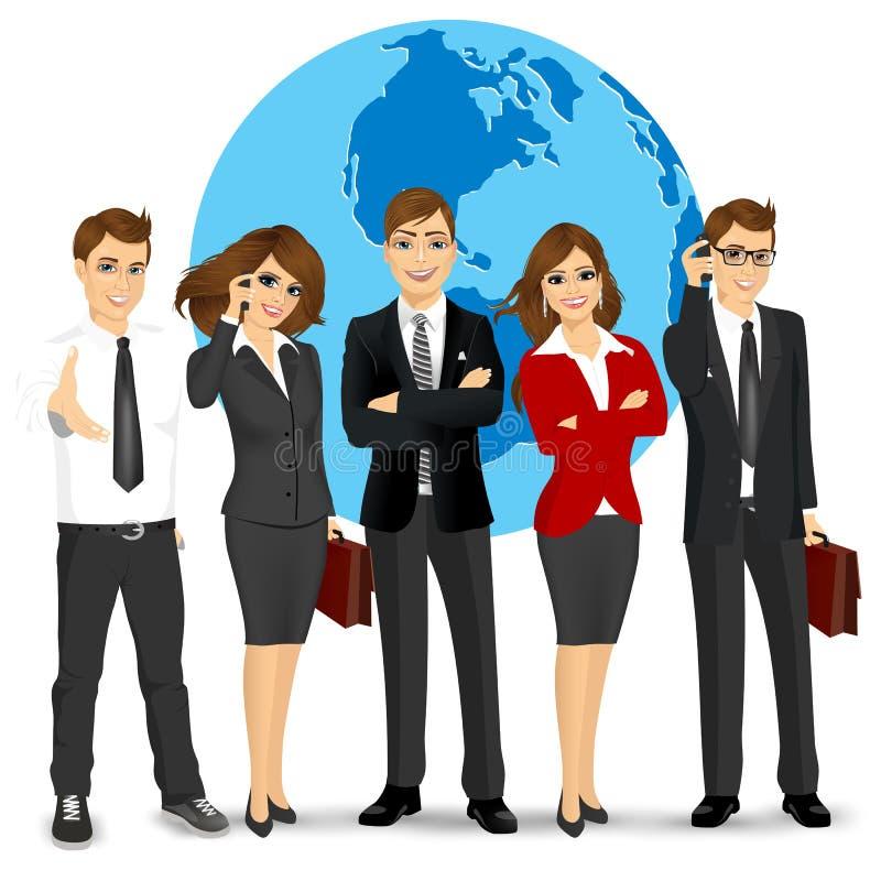 Lag av lyckade businesspeople stock illustrationer