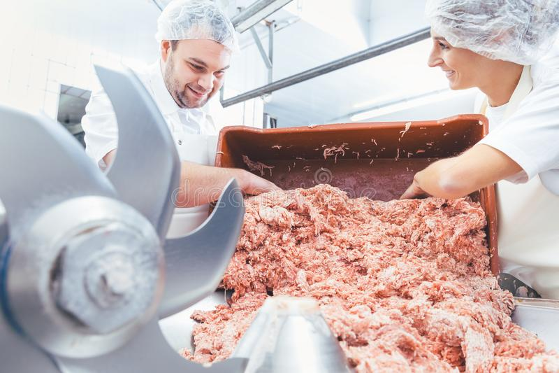 Lag av slaktare som tar sinnat kött ut ur molar arkivbilder