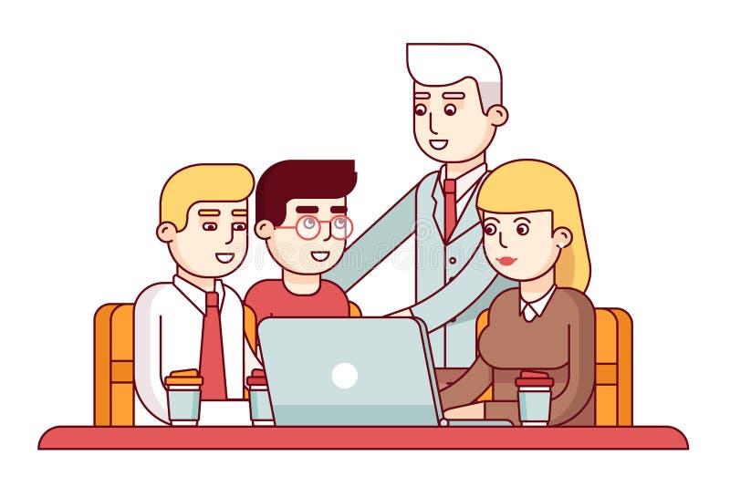 Lag av unga anställda royaltyfri illustrationer