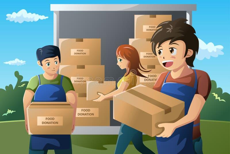 Lag av volontären som arbetar på matdonationmitten stock illustrationer