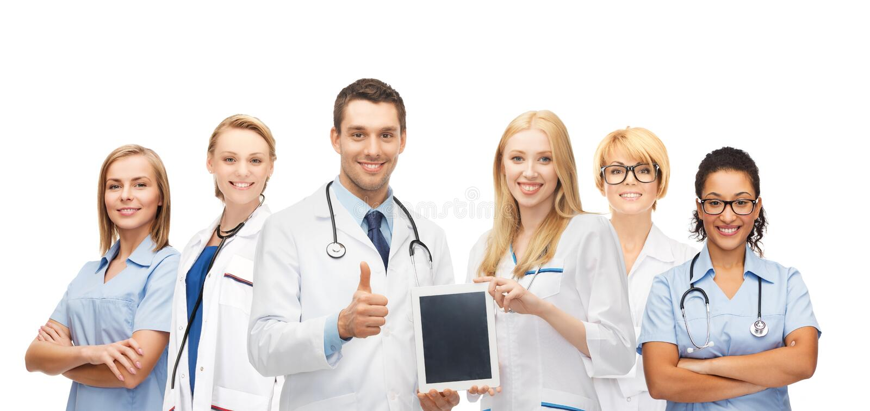 Lag eller grupp av doktorer med minnestavlaPCdatoren royaltyfri foto