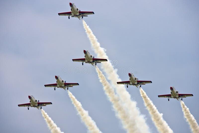 lag för aerobaticsairshowskärm arkivfoto