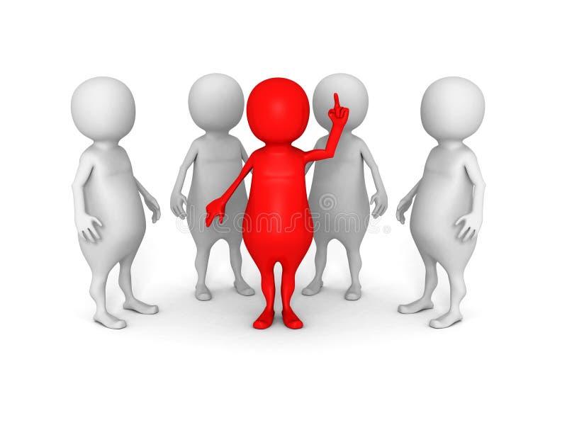 lag för affär 3d med den röda ledaremannen framgångteamworkbegrepp stock illustrationer