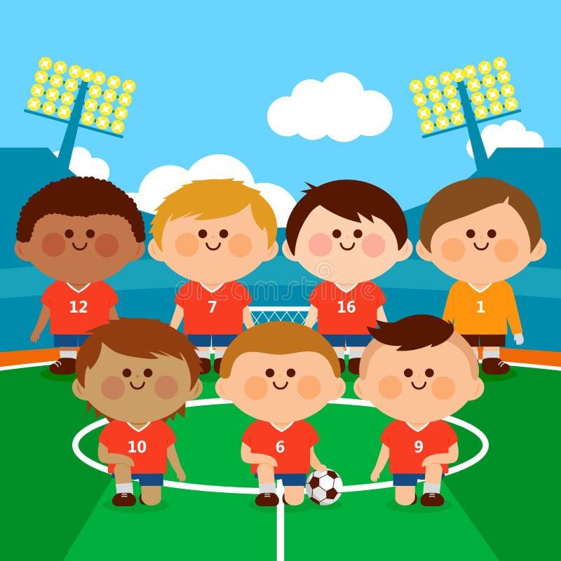 Lag för barnfotbollspelare i en stadion royaltyfri illustrationer