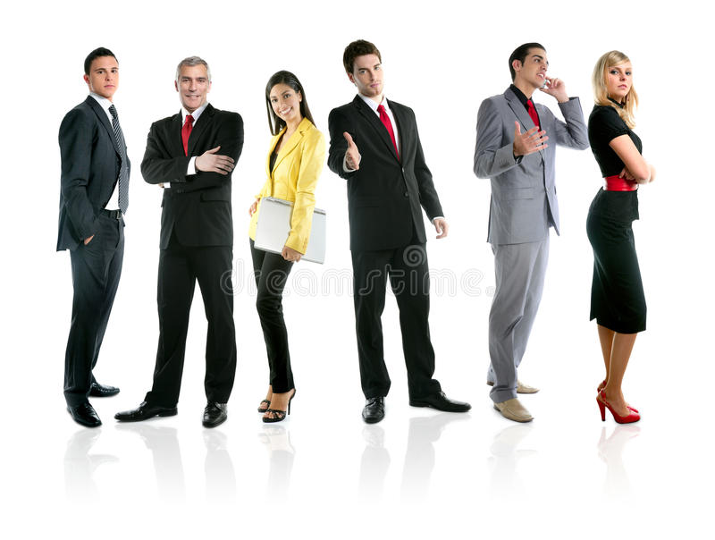 lag för folk för längd för grupp för affärsfolkmassa fullt arkivbild